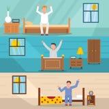 Budził się szczęśliwego sztandaru horyzontalnego set, mieszkanie styl ilustracja wektor