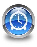 Budzik ikony glansowany błękitny round guzik Zdjęcie Stock