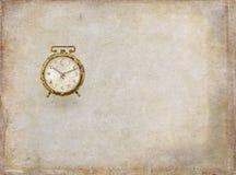 Budzik, zegar, czas biały, stary, antykwarski, tło obraz stock