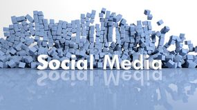 Bue cubes and social media text Stock Image