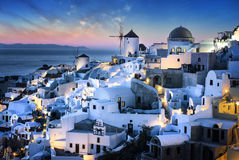 Bue hour time in Santorini Stock Images