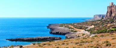 Bue Marino Beach, Macari, Sicilia, Italia Fotografie Stock