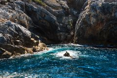 Palmaria island, La Spezia, Italy. Beautiful rocky sea coast of Palmaria island near Portovenere (Gulf of Poets, Cinque Terre National Park, La Spezia stock photos
