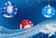 Bue and red christmas balls Royalty Free Stock Photos