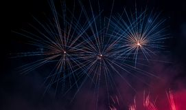 Bue and Red Colors Fireworks Lights Royalty Free Stock Photo
