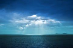 Bue sky. Beautiful blue sky with sunbeams royalty free stock photo