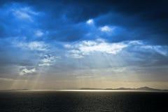 Bue sky. Beautiful blue sky with sunbeams stock photo