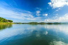 Bue sky and reflection. At Srinakarin dam , Srisawat District Kanchanaburi, Thailand royalty free stock photography