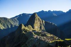 Bue-Sonnenaufgang bei Machu Picchu Stockbild