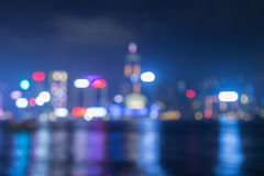 Bueautiful night bokeh at harbour in hongkong Royalty Free Stock Photos