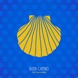 Buen Camino! Coperture gialle sui precedenti blu royalty illustrazione gratis
