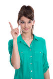 Buen consejo: mujer aislada con el finger para arriba. Foto de archivo