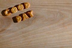 Buen día Letras comestibles Imagen de archivo libre de regalías