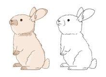 Buen ejemplo para el libro de colorear para los niños Conejito colorido exhausto de la mano del vector en el fondo blanco stock de ilustración