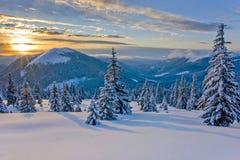 Buen invierno en las montañas imagen de archivo libre de regalías