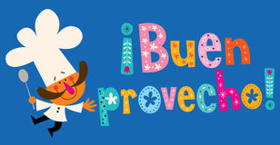 Buen provecho Spanish decorative lettering with chef character royalty free illustration