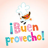 Buen provecho Spanish decorative type with chef character Stock Photos