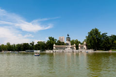 Buen Retiro Park, Madrid, Spain. The monument to Alfonso XII, erected next to the pond of Parque del Buen Retiro,  or simply El Retiro, the main park of the city Stock Image