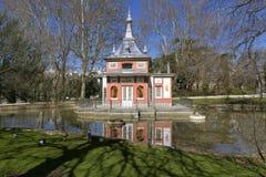 Buen Retiro Park Madrid, Spain. The Lake house. Glorieta de Sevilla in the Buen Retiro Park Madrid, Spain Royalty Free Stock Photos