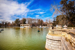 The Buen Retiro Park in Madrid Spain. El Retiro is the one of the largest parks of the city Madrid. This is the green heart of the Spanish capital Stock Image