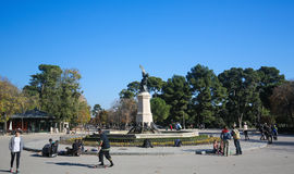 The Buen Retiro Park in Madrid, Spain. MADRID, SPAIN - NOVEMBER 14, 2015: Fuente del Angel Caido (Fountain of the Fallen Angel) in the Buen Retiro Park, one of Stock Images