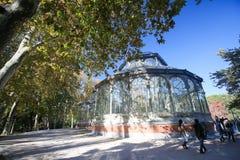 The Buen Retiro Park in Madrid, Spain. MADRID, SPAIN - NOVEMBER 14, 2015: Palacio de Cristal (Crystal Palace), built in 1887 in the Buen Retiro Park, one of the Royalty Free Stock Photos