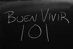 Buen Vivir 101 Na Blackboard Przekład: Żyć Dobrze 101 Fotografia Royalty Free