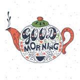 Buena mañana, cartel de la tipografía de las letras de la mano Fotos de archivo