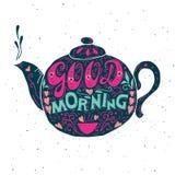 Buena mañana, cartel de la tipografía de las letras de la mano Fotografía de archivo