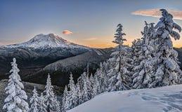 Buena mañana, el Monte Rainier Imágenes de archivo libres de regalías