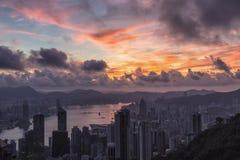 Buena mañana Hong Kong, salida del sol en Victoria Peak Fotografía de archivo