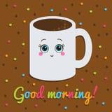 Buena mañana, inscripción tarjeta Sonrisa con a Foto de archivo