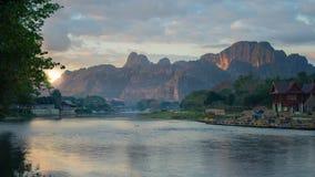 Buena mañana Vang-Vieng, Lao Imagen de archivo