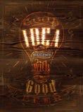 Buena madera de la cerveza de la idea del cartel Imagen de archivo