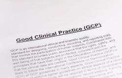 Buena práctica clínica. GCP. Fotografía de archivo libre de regalías