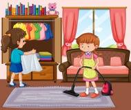 Buena sala de estar de la limpieza de la muchacha stock de ilustración