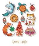 Buena suerte Amuletos afortunados y sistema de símbolos feliz ilustración del vector