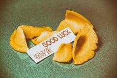 Buena suerte de la galleta de la suerte Imágenes de archivo libres de regalías