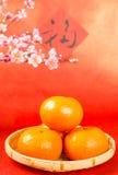 Buena suerte del medio anaranjado chino de la fruta Fotos de archivo libres de regalías