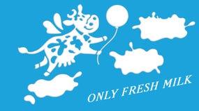 Buena vaca linda como elemento del logotipo del producto del tienda de la lechería o lácteo Fotos de archivo