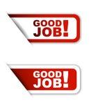 Buena variante del trabajo dos de la etiqueta engomada de papel roja Fotografía de archivo