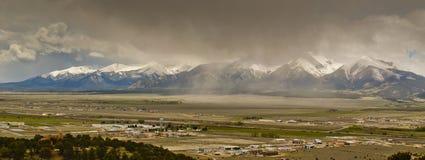 Buena Vista Colorado. Panoramic view of Buena Vista Colorado during a cloudy day Stock Image
