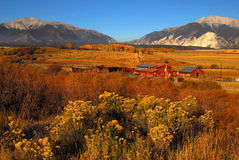 Buena Vistas and farm. Farm in Colorado and mountain vistas stock photo