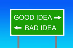 Buena y mala idea Fotos de archivo libres de regalías