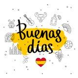 Buenas dias. Fashionable calligraphy. stock illustration