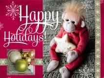 Buenas fiestas diseño de tarjetas 2016 años del mono Tarjeta de felicitación Fotografía de archivo