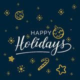 Buenas fiestas El oro hermoso de la palabra del texto del negro de la caligrafía de la tarjeta de felicitación protagoniza Impres libre illustration