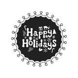 Buenas fiestas Frase de la caligrafía El cepillo manuscrito sazona las letras Frase de Navidad Elemento drenado mano holidays stock de ilustración