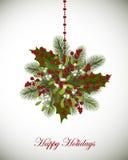 Buenas fiestas la tarjeta de felicitación con las ramas del abeto, muérdago y sea Imágenes de archivo libres de regalías