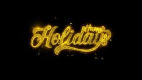 Buenas fiestas la tipograf?a escrita con las part?culas de oro chispea los fuegos artificiales